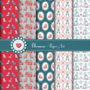 Vintage Digital Scrapbooking - Blue and Red Furniture Design - Download Image - Blossom Paper Art